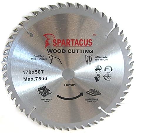 Spartacus 170mm Diameter x 50 Teeth x 16mm Bore Wood Cutting Circular Saw Blade Fits Black & Decker