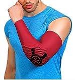 Baisde Ellenbogen Unterstützung Basketball Länger Atmungsaktive Klammer Schutz Sport Sicherheit Armmanschette 1 STÜCK, red, M