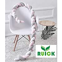 Baby Braided Crib Bumpers Long Knot Pillow Cushion,Nursery Bedding Cot Safety Fence Stroller Bumpers Room Decor 200CM,White-Pink-Mint-Orange