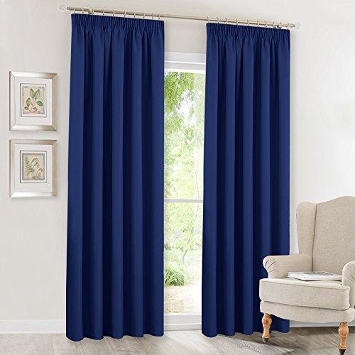 Vorhang Blickdichte Vorhänge mit Kräuselband - PONY DANCE 245 x 140 cm (H x B), 2er set für Schlafzimmer, Wohnzimmer, Büro, Kinderzimmer, Hotel, Dunkel Blau, Junge Küche Volant Blau