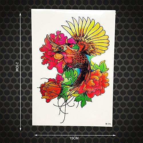 tzxdbh 2 Stücke 3D Flying Phoenix wasserdichte Temproary Tattoo Pfauenmuster 21X15 cm Große Körper Zurück Art Arm Tattoo Hülse Blume Tatoos -