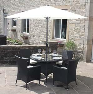 Schwarzes Rattan, Für 4 Personen, Runder Tisch, Mit Sonnenschirm