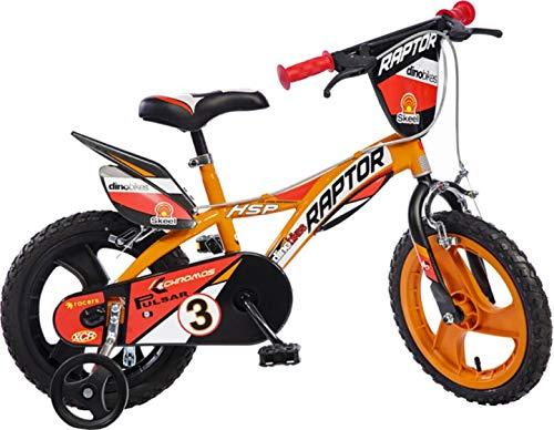 Raptor Jungen Kinderfahrrad Orange Jungenfahrrad - 14 Zoll   TÜV geprüft   Original   Kinderrad mit Stützrädern - Das Fahrrad als Geschenk für Jungen