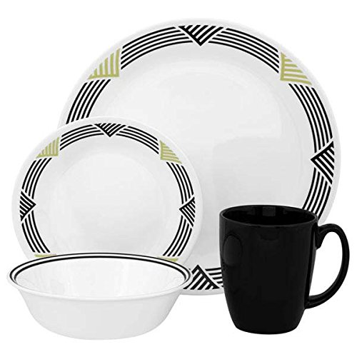 corelle-service-de-table-pour-4-personnes-16-pieces-en-verre-vitrelle-motif-global-stripes-noir