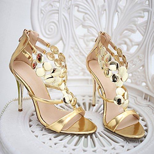 YE Frauen Peep Toe High Heel Stieltto 8cm Heels Fashion Elegante Hochzeit Brautschuhe Sandalen mit Reißverschluss Gold