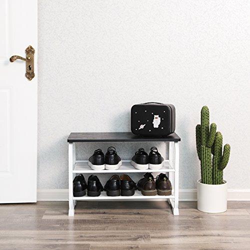Songmics panca scarpiera a 3 ripiani, con strutture metalliche stabili, portascarpe e portaoggetti, adatta per corridoio, soggiorno, camera da letto, bianco, lmr32w