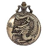 SIBOSUN montre de poche ancien le chinois dragon antiquité chaîne box trous de bronze le quartz Arabe