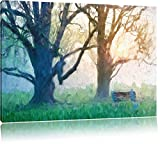 Albero e panchina nella nebbia effetto pennello, formato: 120x80 su tela, XXL enormi immagini completamente Pagina con la barella, stampa d'arte sul murale con telaio, più economico di pittura o un dipinto a olio, non un manifesto o un banner,