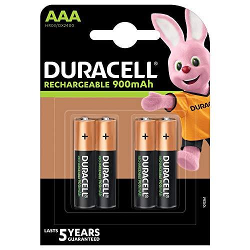 Duracell Recharge Ultra Piles Rechargeables type AAA 900 mAh, Lot de 4 piles (L'emballage peut Varier)