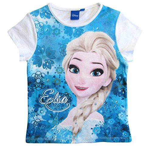 Frozen - Die Eiskönigin T-Shirt Kollektion 2018 Shirt 98 104 110 116 122 128 Mädchen Kurzarmshirt Anna ELSA Disney (Weiß-Blau, 128) (Disney Frozen Elsa Kleid)