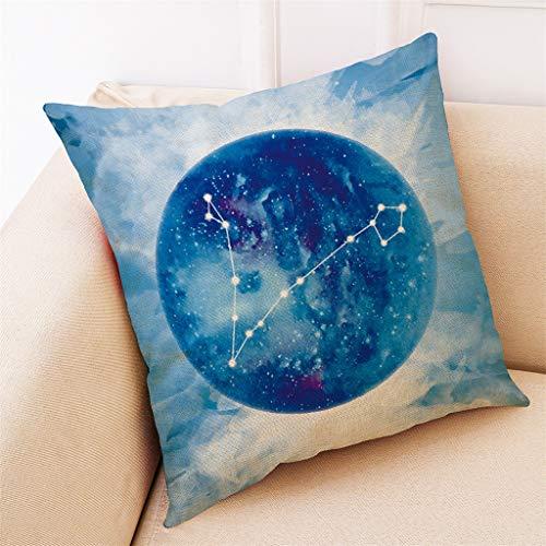 Housse de Coussin, Qinpin DéCor à La Maison Housse De Coussin Douze Constellations Jettent Taie d'oreiller Couvre 18x18 inch 45x45 cm