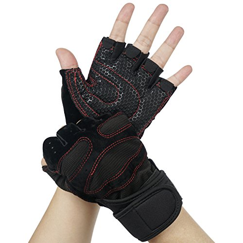 Trainingshandschuhe, Vsllcau Fitness Handschuhe Sporthandschuhe mit Handgelenkstütze für Radsport, Krafttraining wie Hanteln, Klimmzüge, Gewichtheben usw. Schwarz-Rot (Größe L)