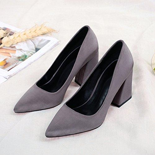 Simplesmente Sapatos Respirável Pontudos Classicamente Moda Cinza Vendas Bloco Nobuk Senhoras Bombas Lazer Ol De Em Antiderrapante Elegantes Toe Escritório vxBwR1n0q