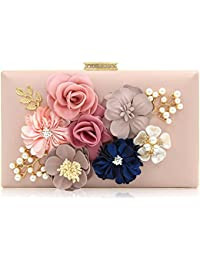 6f7e1a2ea3c12e PARADOX (LABEL) Women Flower Clutches Evening Handbags Wedding Clutch Purse  (Rose Gold)