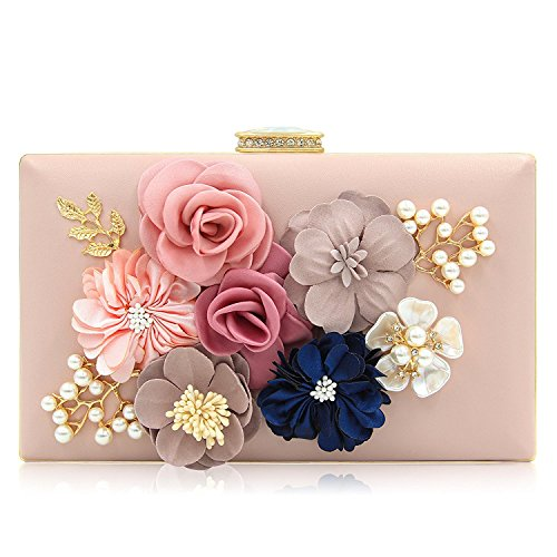 Paradox Women Flower Clutches Evening Handbags Wedding Clutch Purse, Rose Gold