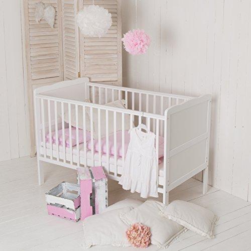 """Puckdaddy Babybett """"Wolke"""" 140 x 70 cm weiß, auch als Kinderbett nutzbar"""