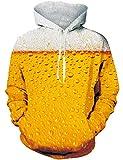 Loveternal Felpa Birra Donna Beer Hoodie 3D Stampa Felpa con Cappuccio Tasca con Coulisse Pullover per Donna Uomo S/M