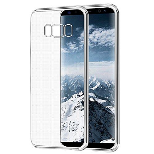 Funda Galaxy S8 Plus,BIGMEDA Carcasa Samsung Galaxy S8 Plus TPU Flexible Silicona Protectora Case[Ultra Slim]Transparente Ultra Hibrida Protectora Case Cover para Samsung Galaxy S8 Plus Bumper(Plata)