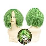 Perruque Joker - Vert Petite Bouclée Batman Chevalier Noir, Accessoire Halloween Déguisement