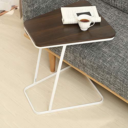 Schreibtische HAIZHEN Snack Table Home Glas/Holz Top Metallrahmen Sofa Side End Table C förmigen Tisch 4 Farben Klapptisch (Farbe : Black Walnut+Wood) -