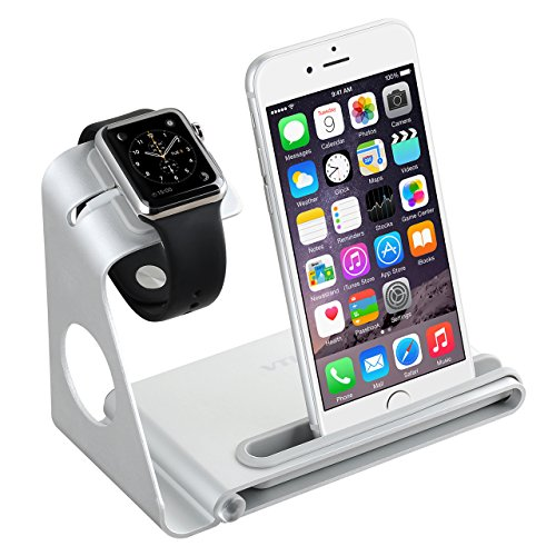 VTin 2 en 1 Stand soporte para Apple Watch/ Plataforma de Cargar para iPhone 6 Plus/6/5S/5/4S /Soporte de Aleación de Aluminio para iPhone y Apple Watch