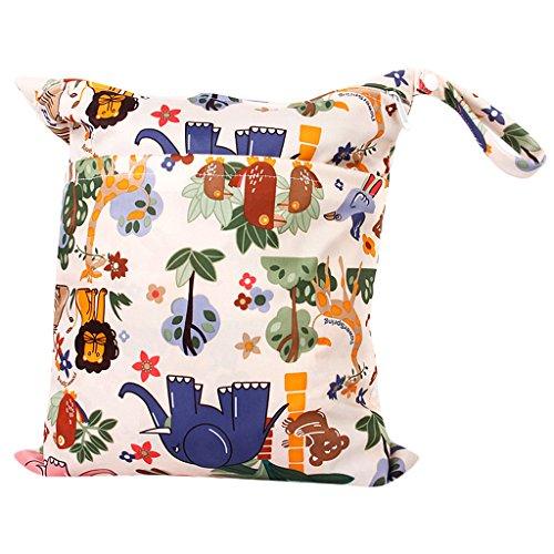 Preisvergleich Produktbild Baby Wickeltaschen Wasserdichtem Reißverschluss Wiederverwendbare Stoff Windel Tasche Snap Tote Bunten Dschungel Tiere Muster