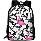 best& Stylish Flamingo Pattern On Black White Laptop Backpack School Backpack Bookbags College Bags Daypack