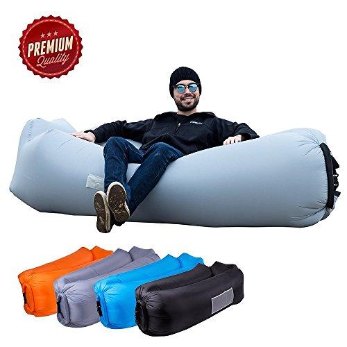 ORSEN Luft Sofa Couch, wasserdichtes aufblasbares sofa, air lounger, aufblasbare liege, Luftsack mit Tragebeutel und integriertem Kissen für Indoor oder Outdoor, Reisen, Camping, Party, Meer, Strand (Grau-1)