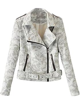 iBaste Camuffamento Giacca Donna in Pelle Sintetica Cappotto Locomotivo Corto Stile Punk Moto Jacket