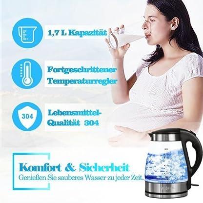 Glas-Wasserkocher-Elektrische-Wasserkessel-Teekocher-17-L-mit-Blaue-LED-Beleuchtung-2200W-Abnehmbar-Kabellos-Wasserkocher-mit-Automatische-Abschaltung-berhitzungsschutz-Schwarz-Glas