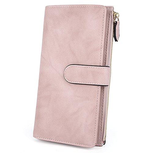 UTO Damen PU Leder Geldbörse 22 Karte Halter Organizer Reißverschluss Münze Fach Purse Riemen Closure Light Pink