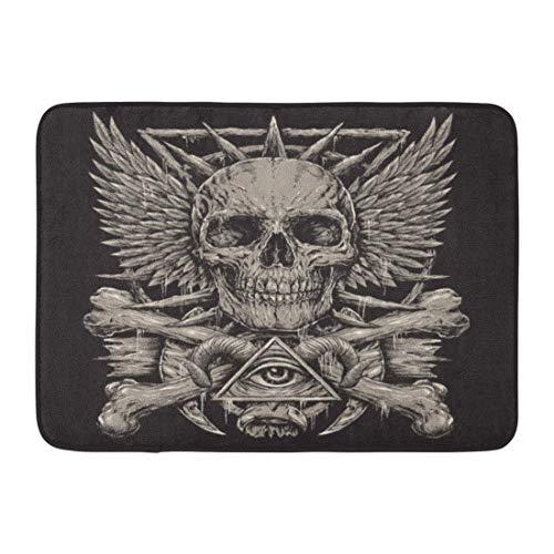 Bai Qian Rutschfeste Fußmatten Böser Heavy Metal inspirierter Schädel auf schwarzem Tattoo Dämon Death Wings Langlebige Teppiche 40 x 60 cm - Dämon-schädel-tattoo