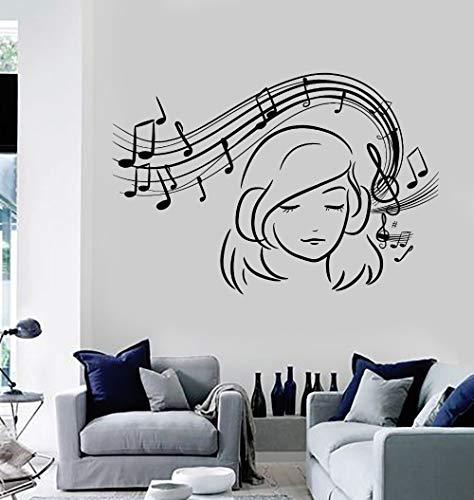 Tianpengyuanshuai Adesivi murali Applique da Parete in Vinile per Ragazza Adesivi per Decorazioni Musicali Decorazioni per la casa...
