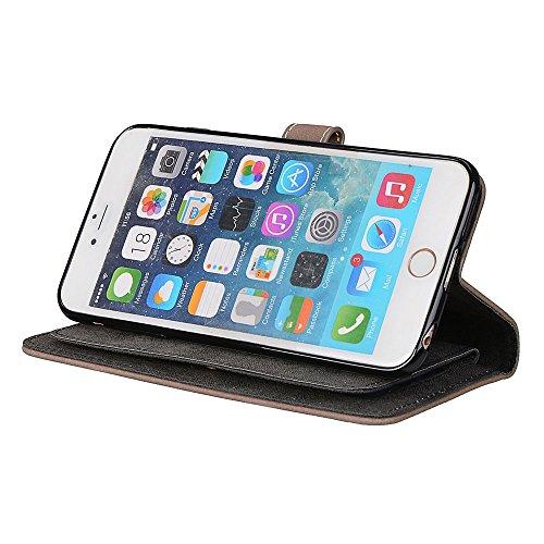 EKINHUI Case Cover Frosted Style Premium PU Leder Geldbörse Hülle Flip Stand Abdeckung Fall mit 9 Card Cash Slot für iPhone 7 Plus ( Color : Purple ) Beige