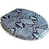 Image of ADOB asiento de inodoro diseño de serpiente, latón bisagras cromadas, 32363