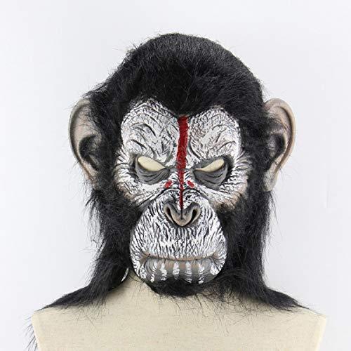 Gugutogo Planet der Affen Gorilla Halloween Kostüm-Maskerade-Masken Monkey King Caps realistische AFFE Maske (Black & White) (Der Halloween Planet Affen-kostüm)