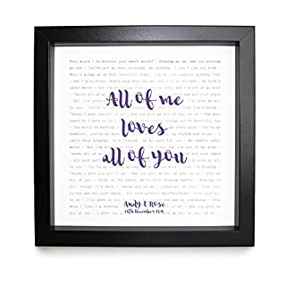 John Legend, All of Me - Song Lyrics Print Framed & Personalised - Anniversary Valentine's Wedding Gift perfect for him, her, couple