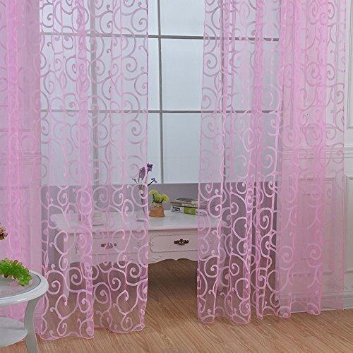 Qhgstore fresh tulle floreale porta sciarpa del voile mantovane copre le tende di finestra pura, include unica finestra di screening, che non includono le tende rosa