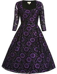 Swing Lisette lange jurk met kanten bloemen print zwart/paars – Vintage, 50's, Rockabilly