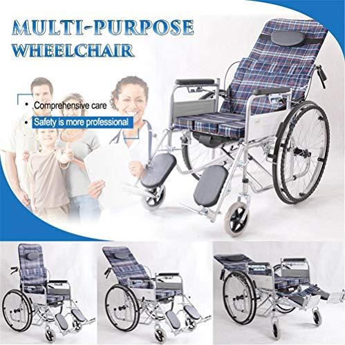 BUDAOWENG Sedia a rotelle Professionale di sanità, Sedia a rotelle automotore, Struttura Leggera e Pieghevole, Sedia a rotelle a propulsione Professionale, Sedia di Viaggio Portatile di transito,Gray