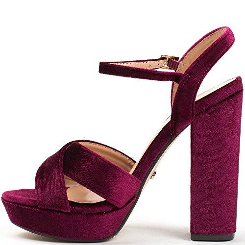 Ideal Shoes ,  Sandali donna Bordeaux