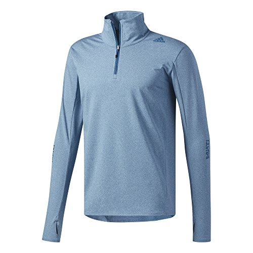 adidas Herren Supernova 1/2 Zip Shirt, Blue Night/Colored Heather, L (Sleeve Adidas Long Supernova Top)