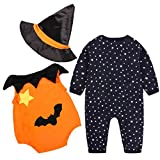 HKFV Halloween Kostüme Baby Kürbis Stück Anzug + Hut 3 Sets Striped Kürbis Spielanzug Halloween Outfits Kostüm Lange Ärmel (80, Schwarz)