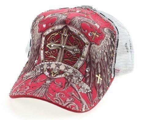 Strass tatuaggio in rete con cartello a forma di croce e aquile rosso bianco con (Croce Cap Hat)