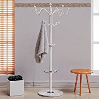 Deuba Coat Stand Clothes Rack Umbrella Holder Hat Stand Revolving Hooks Solid Marble Base Hallway Furniture White 170cm