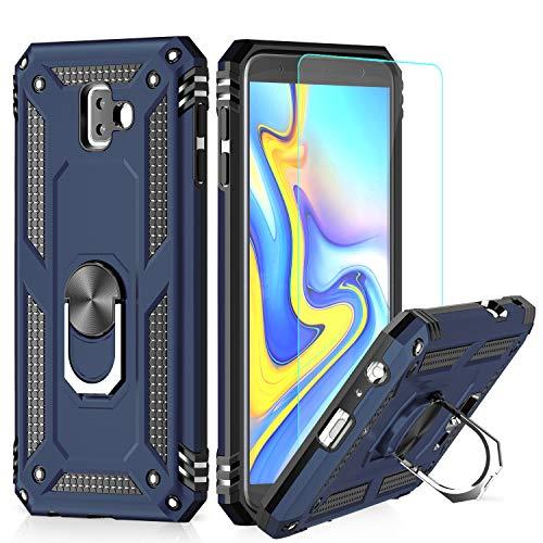 LeYi Hülle Galaxy J6 Plus Handyhülle,360 Grad Drehbar Ringhalter Cover TPU Magnetische Bumper Schutzhülle mit HD Folie Schutzfolie für Case Samsung Galaxy J6 Plus/Galaxy J6+ Handy Hüllen Dunkelblau
