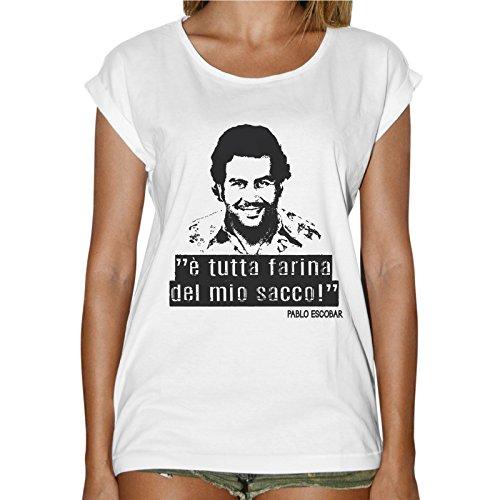 T-Shirt Donna Fashion Narcos È Tutta Farina Del Miosacco Escobar Bianco