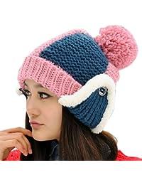 Smarstar Hiver femmes dame 100% tricoté à la main cache-oreilles en fausse fourrure Beanie Ski Chapeau