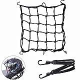 Motorrad Netz Motorrad Gepäcknetz Motorrad Helmnetz mit 6 Haken + 60cm elastisches Gepäckband für Motorrad / Roller / Fahrrad zum Anbringen von Gepäck / Helm, 40 x 40cm (Schwarz)