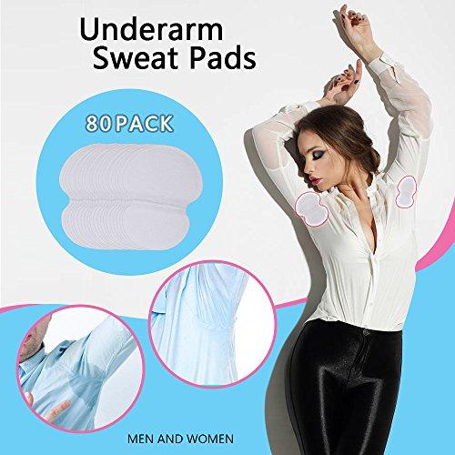 Almohadillas de sudoración para axilas, Hiperhidrosis de lucha de alta calidad para hombres y mujeres [80 unidades] cómodas,no visibles, extra adhesivas, protectores de vestido desechables/escondidas